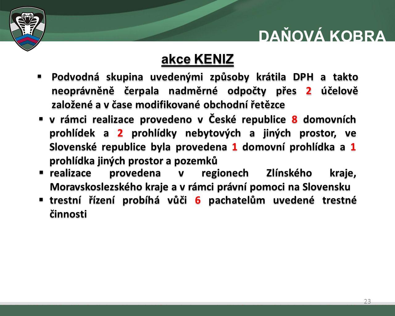  Podvodná skupina uvedenými způsoby krátila DPH a takto neoprávněně čerpala nadměrné odpočty přes 2 účelově založené a v čase modifikované obchodní řetězce  v rámci realizace provedeno v České republice 8 domovních prohlídek a 2 prohlídky nebytových a jiných prostor, ve Slovenské republice byla provedena 1 domovní prohlídka a 1 prohlídka jiných prostor a pozemků  realizace provedena v regionech Zlínského kraje, Moravskoslezského kraje a v rámci právní pomoci na Slovensku  trestní řízení probíhá vůči 6 pachatelům uvedené trestné činnosti akce KENIZ 23