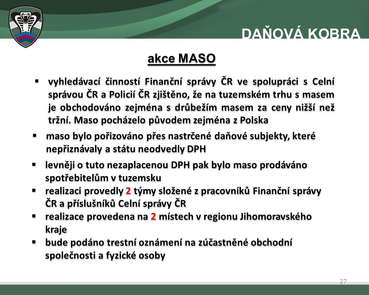  vyhledávací činností Finanční správy ČR ve spolupráci s Celní správou ČR a Policií ČR zjištěno, že na tuzemském trhu s masem je obchodováno zejména s drůbežím masem za ceny nižší než tržní.