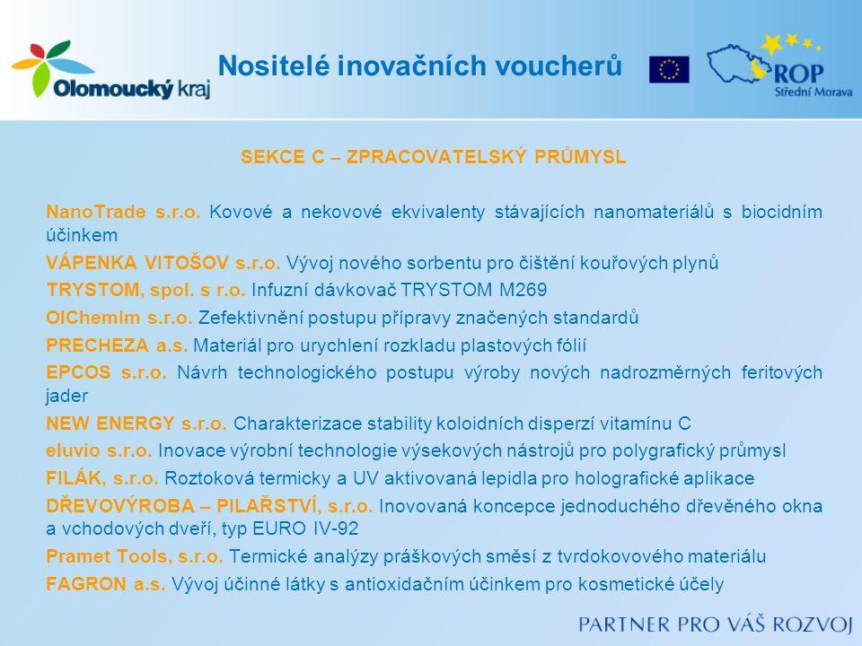 SEKCE C – ZPRACOVATELSKÝ PRŮMYSL NanoTrade s.r.o.