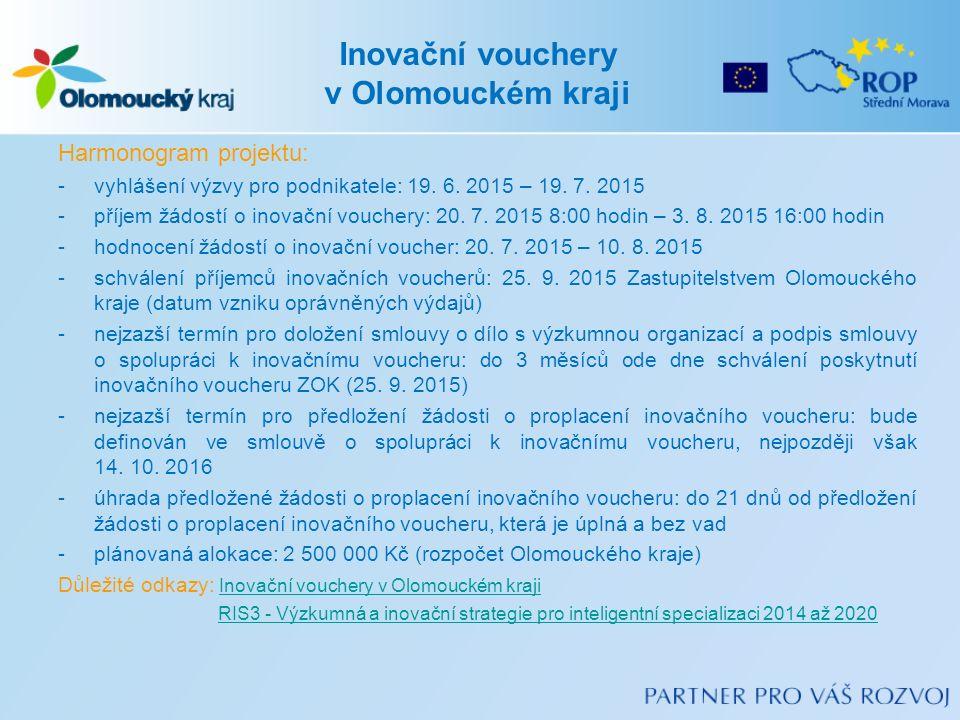 Inovační vouchery v Olomouckém kraji Harmonogram projektu: -vyhlášení výzvy pro podnikatele: 19.