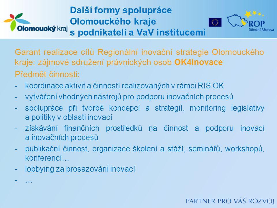 Garant realizace cílů Regionální inovační strategie Olomouckého kraje: zájmové sdružení právnických osob OK4Inovace Předmět činnosti: -koordinace aktivit a činností realizovaných v rámci RIS OK -vytváření vhodných nástrojů pro podporu inovačních procesů -spolupráce při tvorbě koncepcí a strategií, monitoring legislativy a politiky v oblasti inovací -získávání finančních prostředků na činnost a podporu inovací a inovačních procesů -publikační činnost, organizace školení a stáží, seminářů, workshopů, konferencí… -lobbying za prosazování inovací -… Další formy spolupráce Olomouckého kraje s podnikateli a VaV institucemi