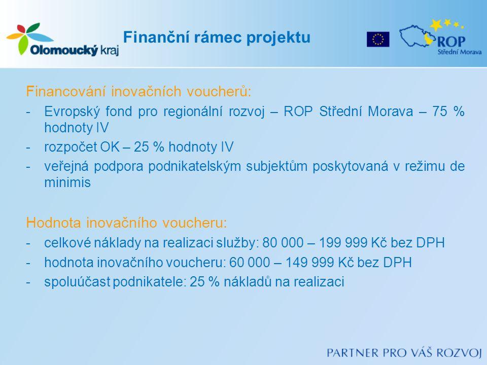 Financování inovačních voucherů: -Evropský fond pro regionální rozvoj – ROP Střední Morava – 75 % hodnoty IV -rozpočet OK – 25 % hodnoty IV -veřejná podpora podnikatelským subjektům poskytovaná v režimu de minimis Hodnota inovačního voucheru: -celkové náklady na realizaci služby: 80 000 – 199 999 Kč bez DPH -hodnota inovačního voucheru: 60 000 – 149 999 Kč bez DPH -spoluúčast podnikatele: 25 % nákladů na realizaci Finanční rámec projektu