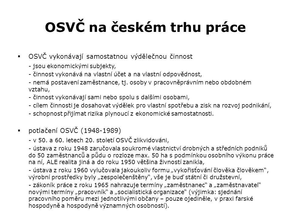 OSVČ na českém trhu práce  potlačení OSVČ (1948-1989) - tzv.