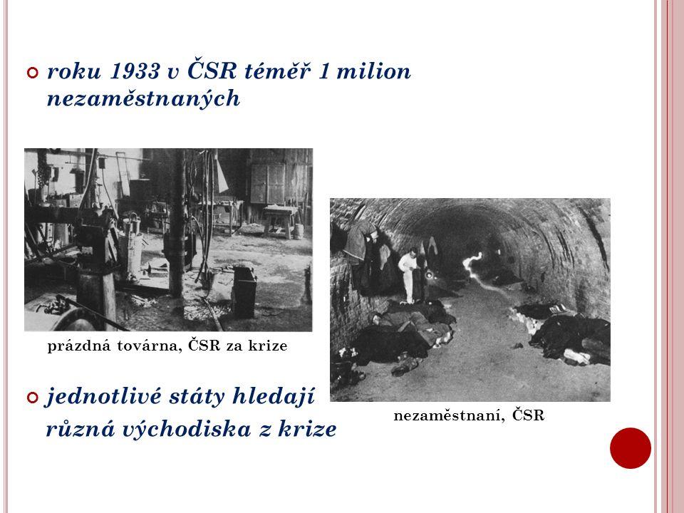 roku 1933 v ČSR téměř 1 milion nezaměstnaných jednotlivé státy hledají různá východiska z krize prázdná továrna, ČSR za krize nezaměstnaní, ČSR
