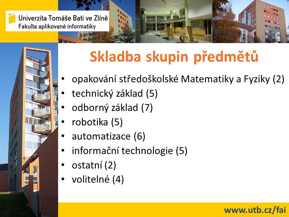 www.utb.cz/fai Skladba skupin předmětů opakování středoškolské Matematiky a Fyziky (2) technický základ (5) odborný základ (7) robotika (5) automatiza