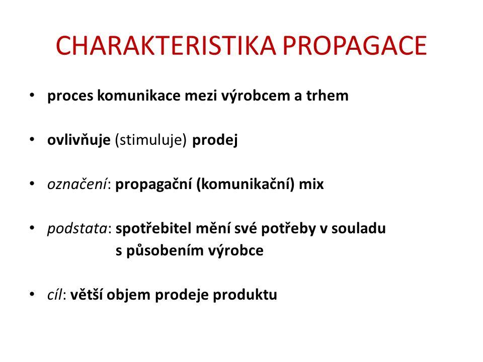 CHARAKTERISTIKA PROPAGACE proces komunikace mezi výrobcem a trhem ovlivňuje (stimuluje) prodej označení: propagační (komunikační) mix podstata: spotřebitel mění své potřeby v souladu s působením výrobce cíl: větší objem prodeje produktu
