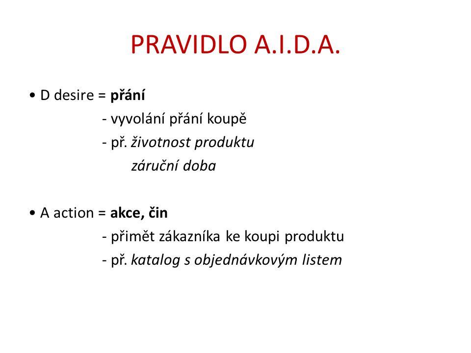 PRAVIDLO A.I.D.A. D desire = přání - vyvolání přání koupě - př.