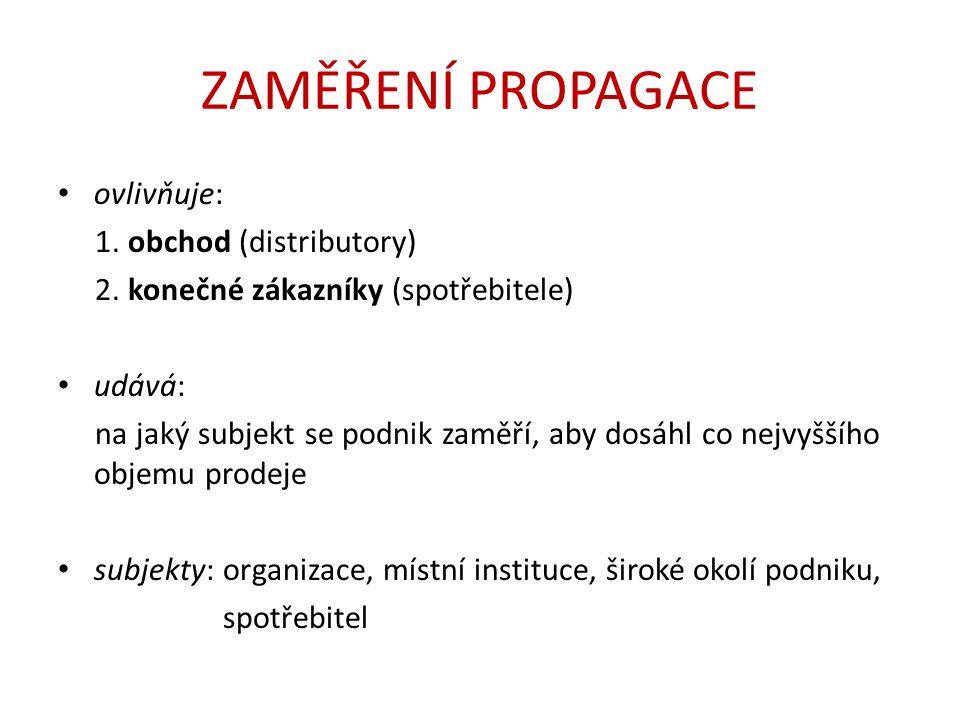 ZAMĚŘENÍ PROPAGACE ovlivňuje: 1. obchod (distributory) 2.