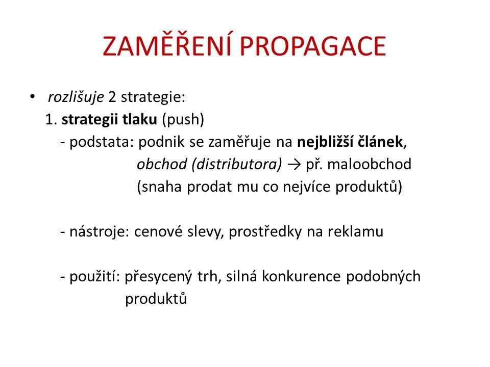 ZAMĚŘENÍ PROPAGACE rozlišuje 2 strategie: 1.