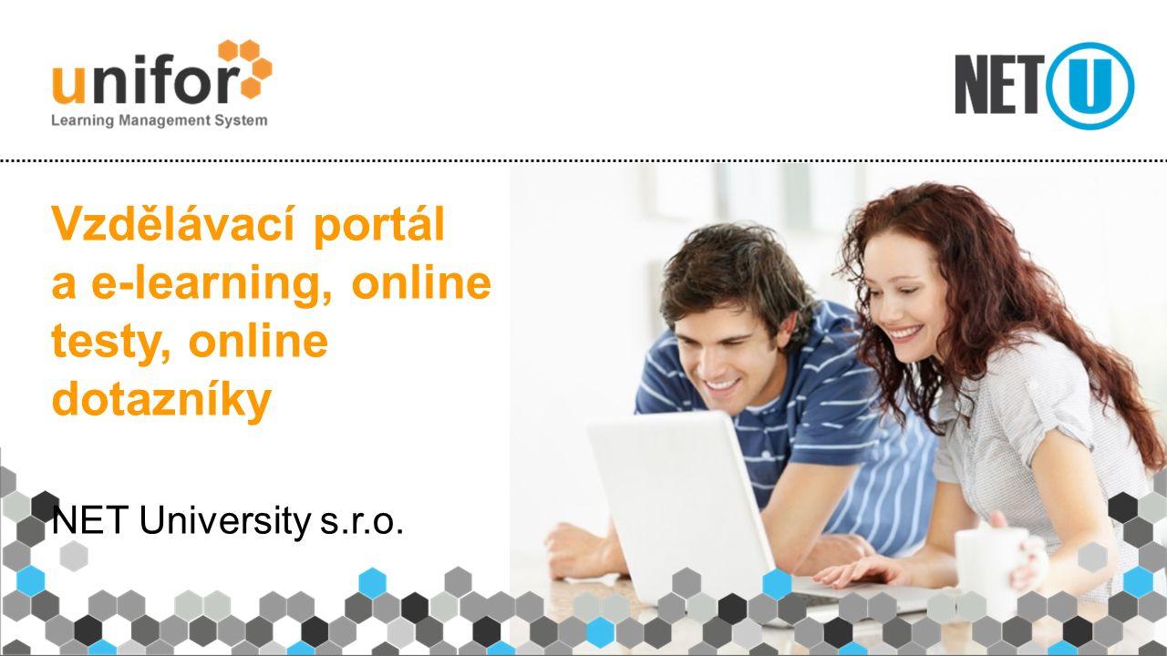 Vzdělávací portál a e-learning, online testy, online dotazníky NET University s.r.o.