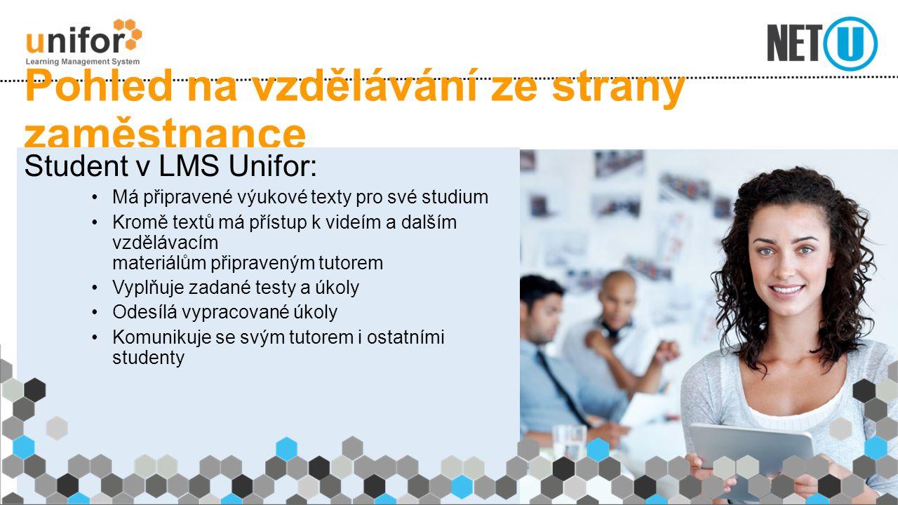 Pohled na vzdělávání ze strany zaměstnance Student v LMS Unifor: Má připravené výukové texty pro své studium Kromě textů má přístup k videím a dalším