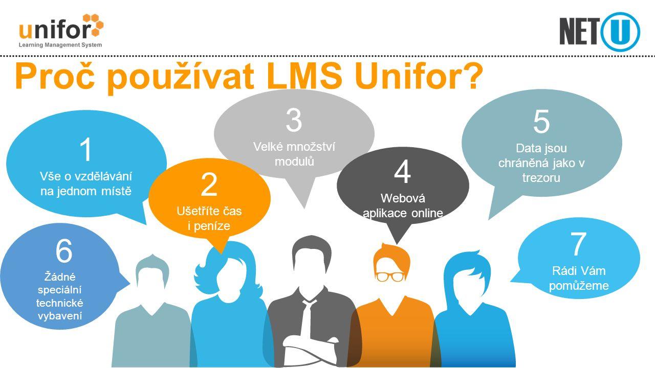 Proč používat LMS Unifor? 5 Data jsou chráněná jako v trezoru 1 Vše o vzdělávání na jednom místě 7 Rádi Vám pomůžeme 6 Žádné speciální technické vybav