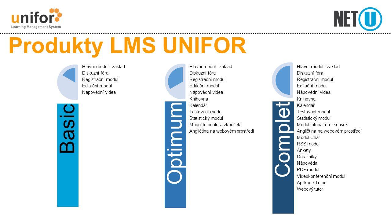 Produkty LMS UNIFOR Basic Hlavní modul –základ Diskuzní fóra Registrační modul Editační modul Nápovědní videa Optimum Hlavní modul –základ Diskuzní fó