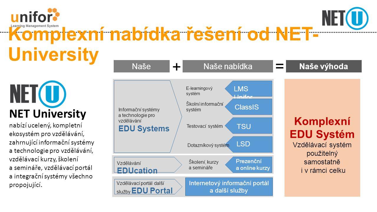 Komplexní nabídka řešení od NET- University NET University nabízí ucelený, kompletní ekosystém pro vzdělávání, zahrnující informační systémy a technologie pro vzdělávání, vzdělávací kurzy, školení a semináře, vzdělávací portál a integrační systémy všechno propojující.