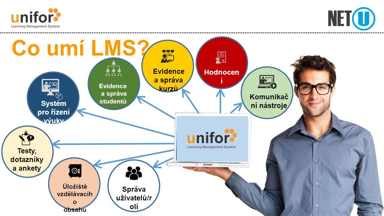 LMS Unifor E-learningový výukový systém Vhodný pro interní i externí vzdělávání Plně webová aplikace Česká a anglická verze Komunikační nástroj Uložiště studijních materiálů Nástroj pro online testy a online dotazníky LMS = Learning Management System - vzdělávací prostředí pro řízení vzdělávání a e-learning