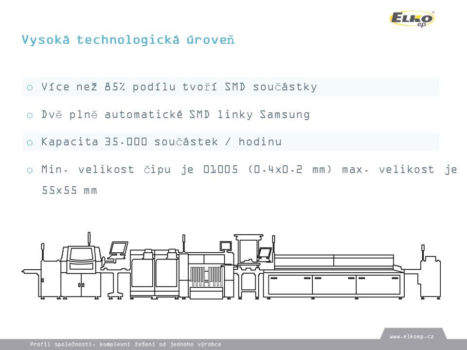 Vysoká technologická úroveň o Více než 85% podílu tvoří SMD součástky o Dvě plně automatické SMD linky Samsung o Kapacita 35.000 součástek / hodinu o Min.