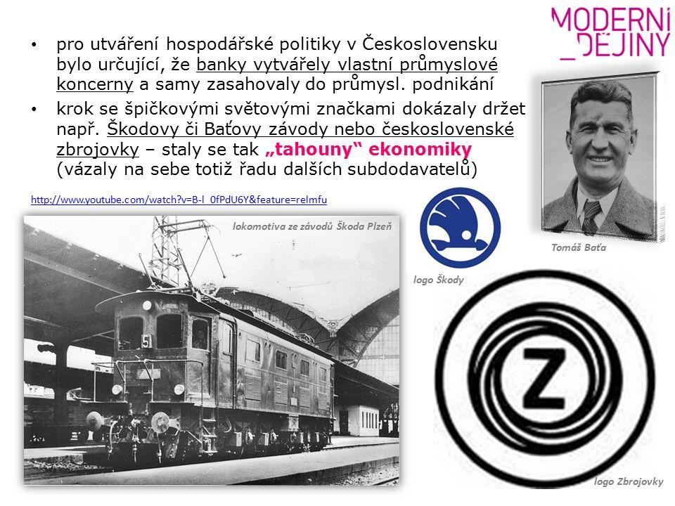 pro utváření hospodářské politiky v Československu bylo určující, že banky vytvářely vlastní průmyslové koncerny a samy zasahovaly do průmysl.