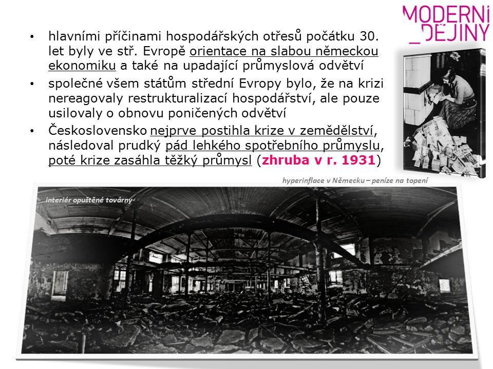 hlavními příčinami hospodářských otřesů počátku 30.