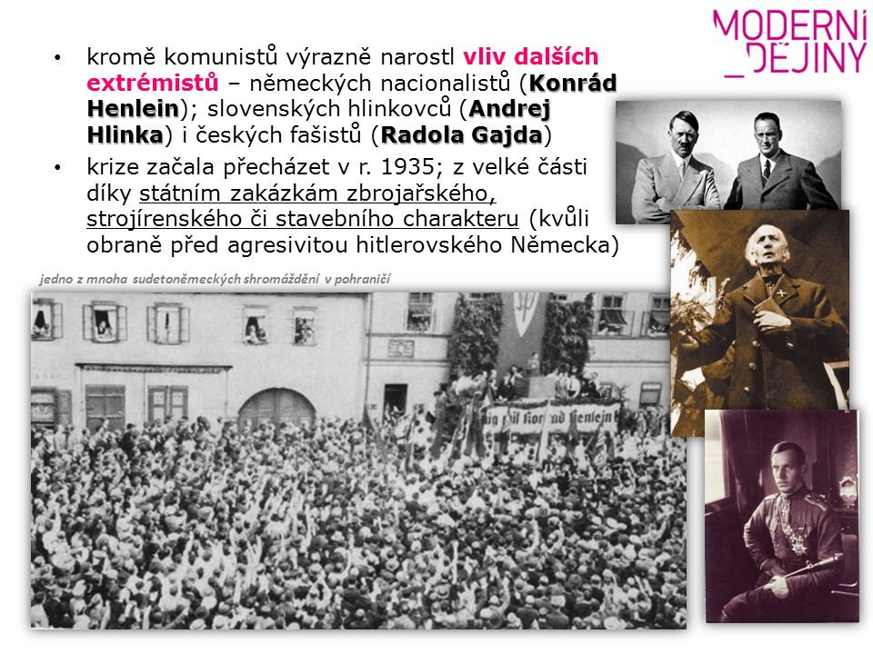 Konrád HenleinAndrej HlinkaRadola Gajda kromě komunistů výrazně narostl vliv dalších extrémistů – německých nacionalistů (Konrád Henlein); slovenských hlinkovců (Andrej Hlinka) i českých fašistů (Radola Gajda) krize začala přecházet v r.