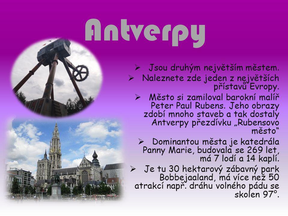 Antverpy  Jsou druhým největším městem.  Naleznete zde jeden z největších přístavů Evropy.  Město si zamiloval barokní malíř Peter Paul Rubens. Jeh