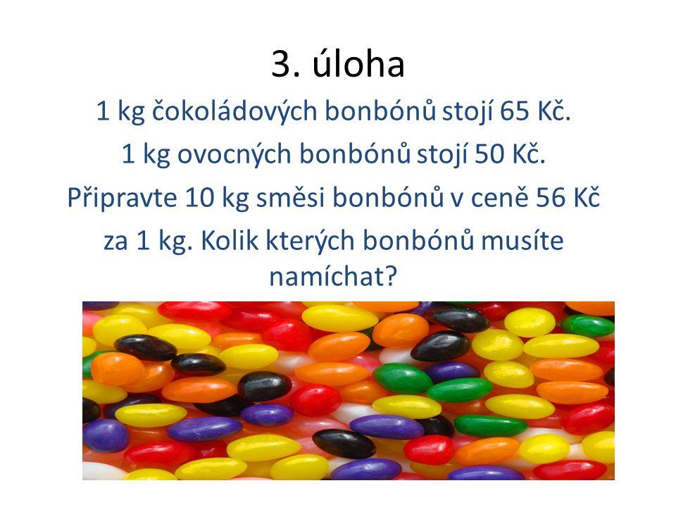 3. úloha 1 kg čokoládových bonbónů stojí 65 Kč. 1 kg ovocných bonbónů stojí 50 Kč.