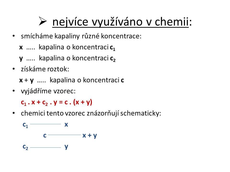  nejvíce využíváno v chemii: smícháme kapaliny různé koncentrace: x …..
