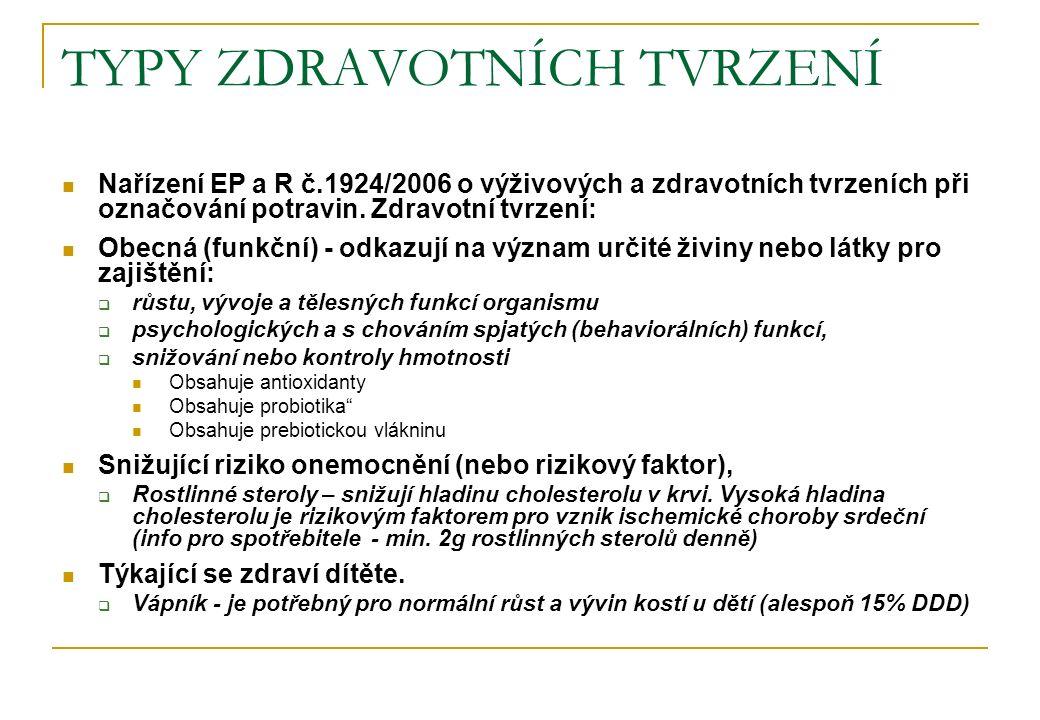 TYPY ZDRAVOTNÍCH TVRZENÍ Nařízení EP a R č.1924/2006 o výživových a zdravotních tvrzeních při označování potravin. Zdravotní tvrzení: Obecná (funkční)