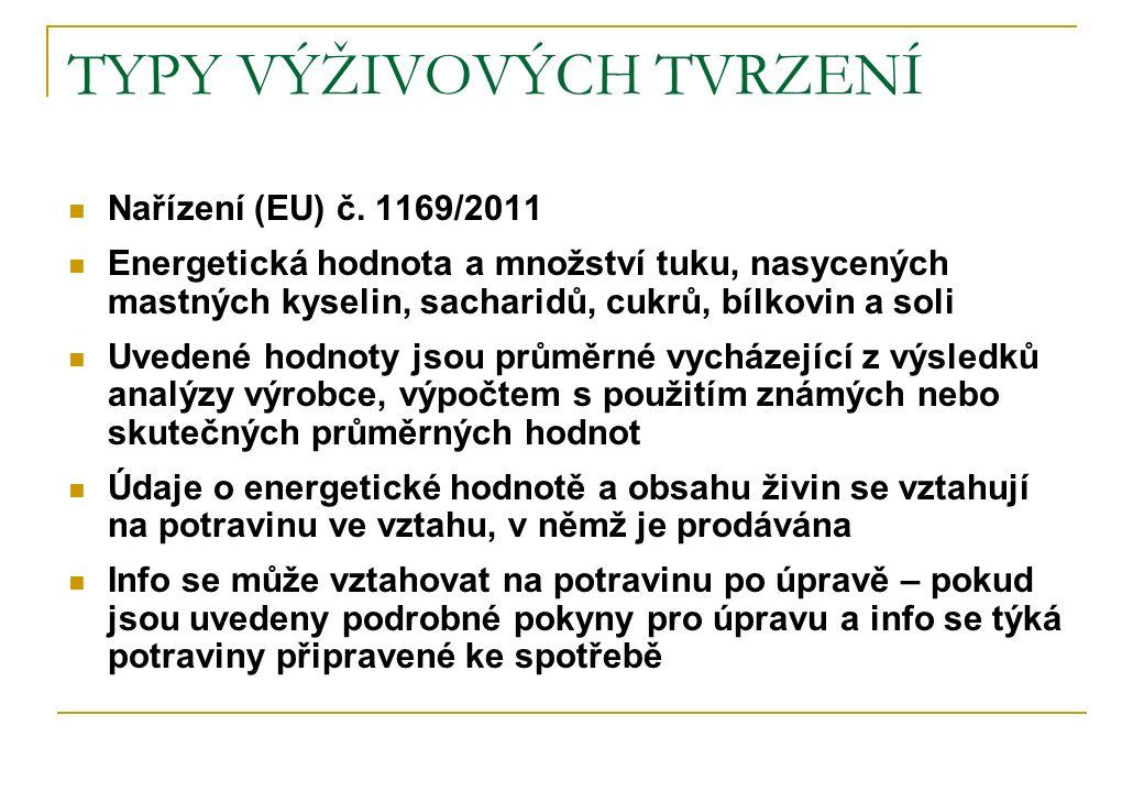 TYPY VÝŽIVOVÝCH TVRZENÍ Nařízení (EU) č. 1169/2011 Energetická hodnota a množství tuku, nasycených mastných kyselin, sacharidů, cukrů, bílkovin a soli
