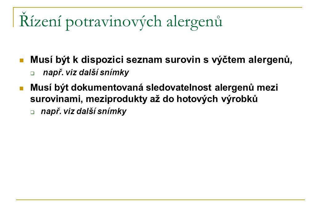 Řízení potravinových alergenů Musí být k dispozici seznam surovin s výčtem alergenů,  např. viz další snímky Musí být dokumentovaná sledovatelnost al