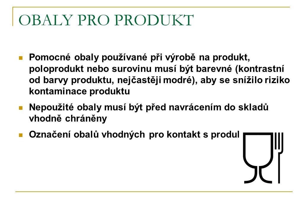 OBALY PRO PRODUKT Pomocné obaly používané při výrobě na produkt, poloprodukt nebo surovinu musí být barevné (kontrastní od barvy produktu, nejčastěji