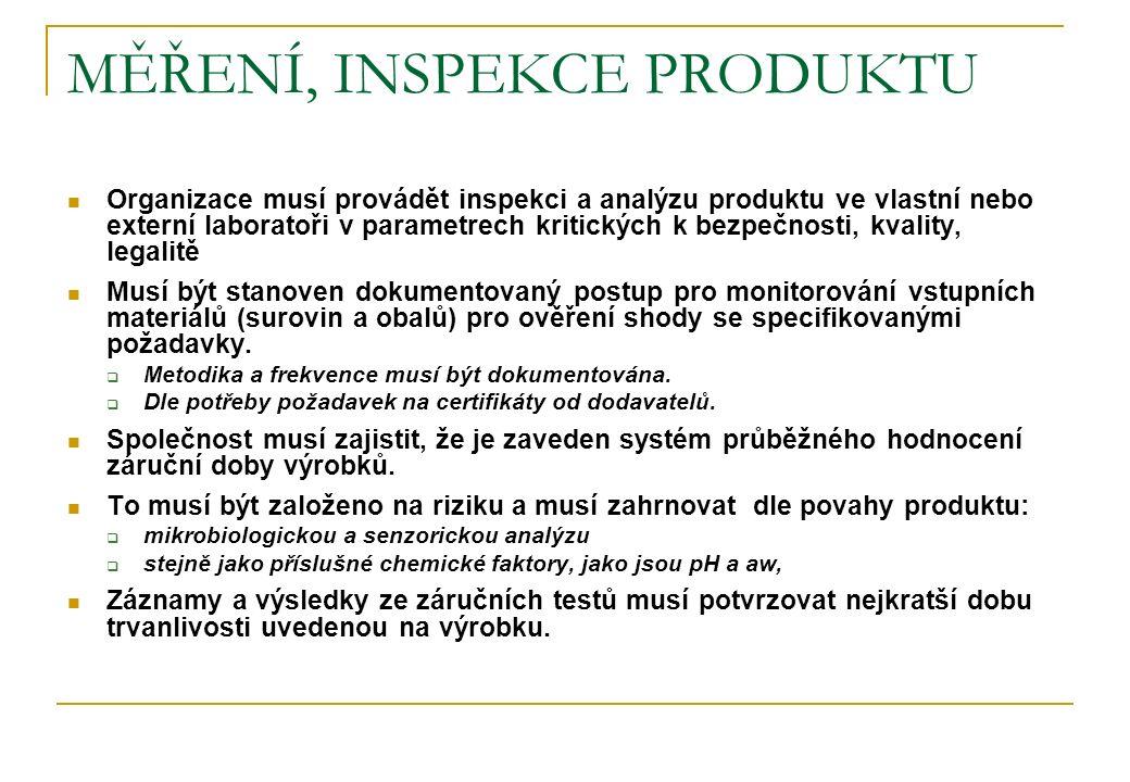 MĚŘENÍ, INSPEKCE PRODUKTU Organizace musí provádět inspekci a analýzu produktu ve vlastní nebo externí laboratoři v parametrech kritických k bezpečnos