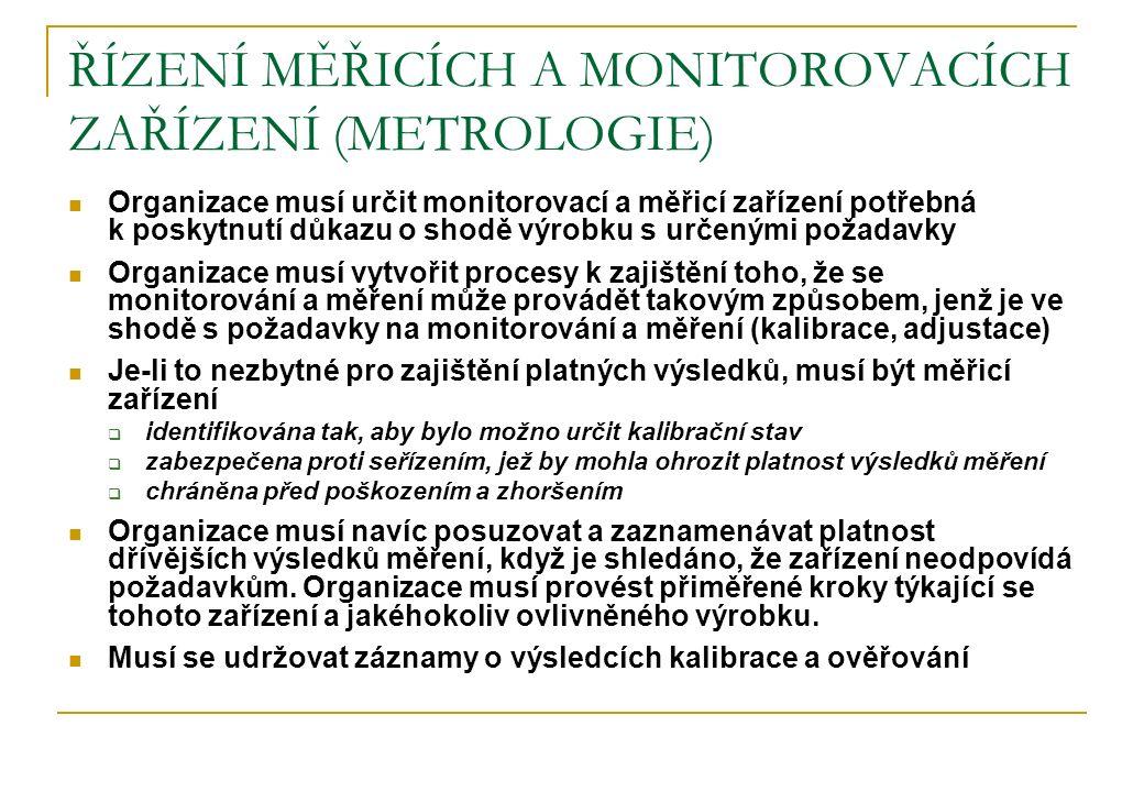 ŘÍZENÍ MĚŘICÍCH A MONITOROVACÍCH ZAŘÍZENÍ (METROLOGIE) Organizace musí určit monitorovací a měřicí zařízení potřebná k poskytnutí důkazu o shodě výrob