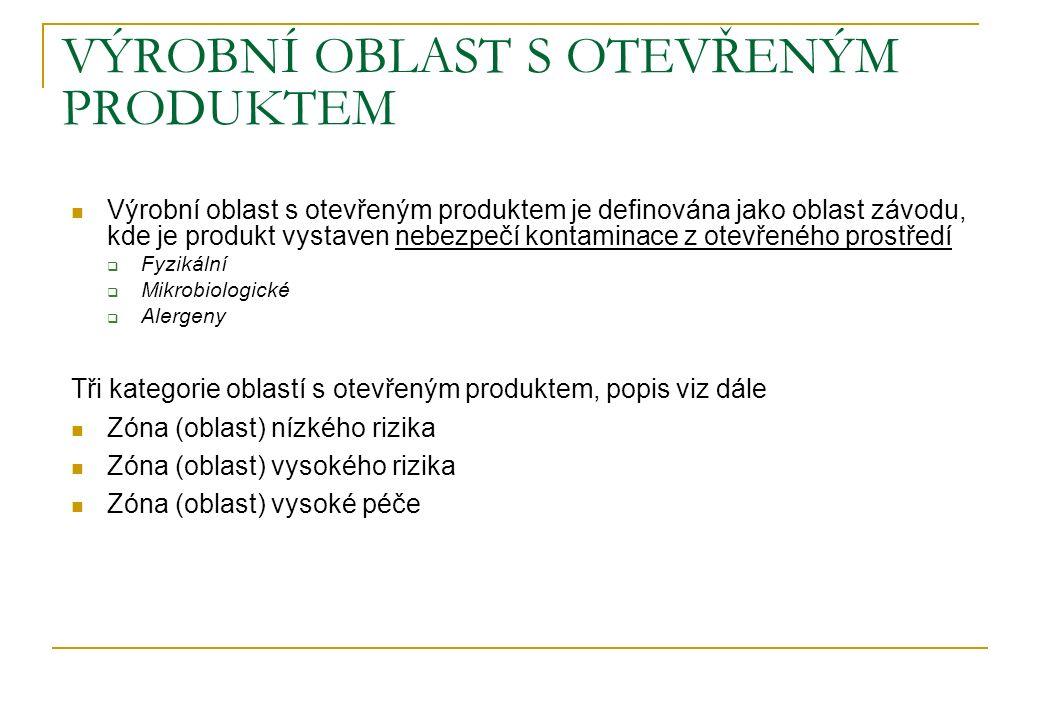 VÝROBNÍ OBLAST S OTEVŘENÝM PRODUKTEM Výrobní oblast s otevřeným produktem je definována jako oblast závodu, kde je produkt vystaven nebezpečí kontamin