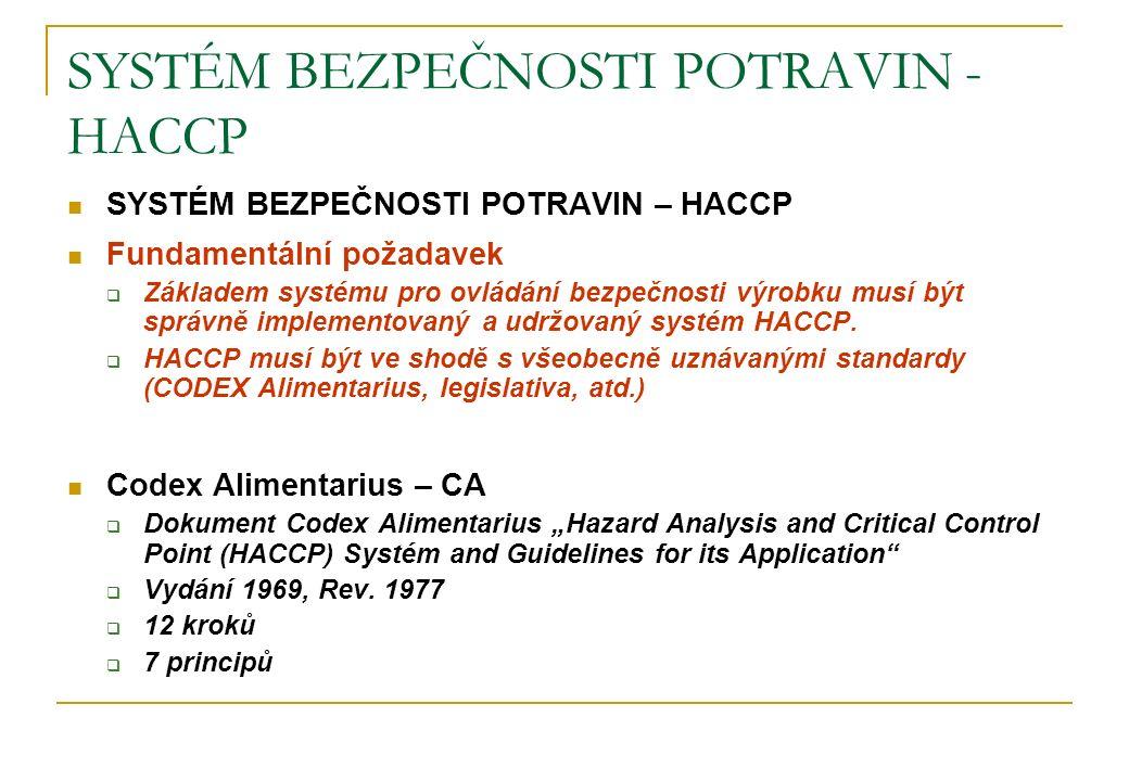 SYSTÉM BEZPEČNOSTI POTRAVIN - HACCP SYSTÉM BEZPEČNOSTI POTRAVIN – HACCP Fundamentální požadavek  Základem systému pro ovládání bezpečnosti výrobku mu