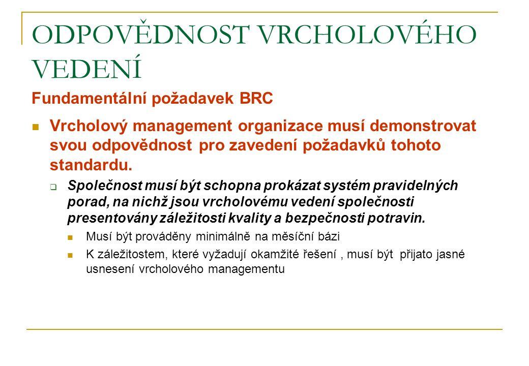 ODPOVĚDNOST VRCHOLOVÉHO VEDENÍ Fundamentální požadavek BRC Vrcholový management organizace musí demonstrovat svou odpovědnost pro zavedení požadavků t