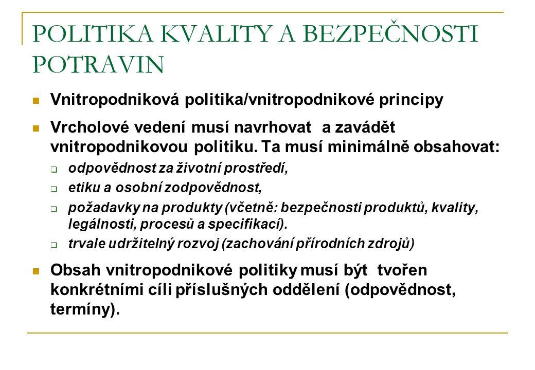 POLITIKA KVALITY A BEZPEČNOSTI POTRAVIN Vnitropodniková politika/vnitropodnikové principy Vrcholové vedení musí navrhovat a zavádět vnitropodnikovou p