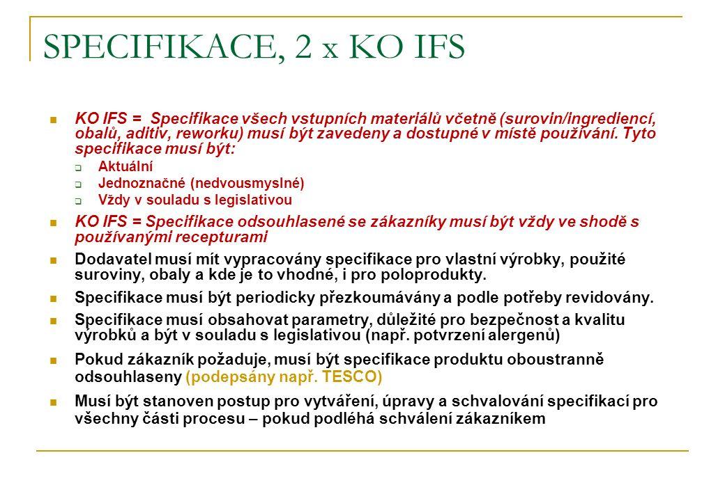 SPECIFIKACE, 2 x KO IFS KO IFS = Specifikace všech vstupních materiálů včetně (surovin/ingrediencí, obalů, aditiv, reworku) musí být zavedeny a dostup