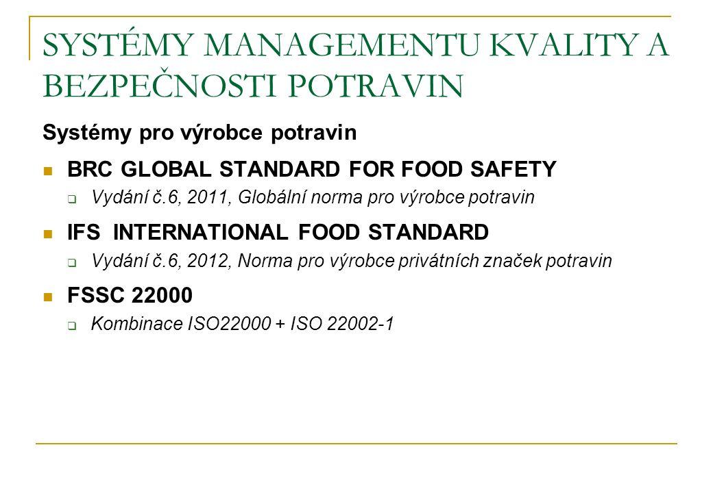 SYSTÉMY MANAGEMENTU KVALITY A BEZPEČNOSTI POTRAVIN Systémy pro výrobce potravin BRC GLOBAL STANDARD FOR FOOD SAFETY  Vydání č.6, 2011, Globální norma