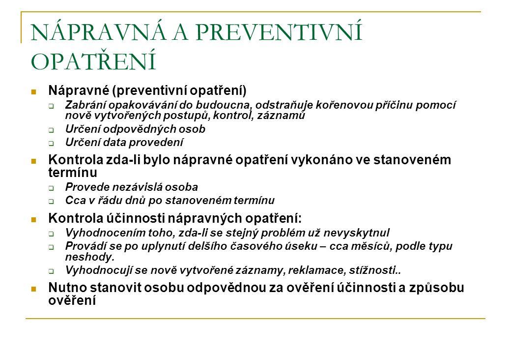 NÁPRAVNÁ A PREVENTIVNÍ OPATŘENÍ Nápravné (preventivní opatření)  Zabrání opakovávání do budoucna, odstraňuje kořenovou příčinu pomocí nově vytvořenýc