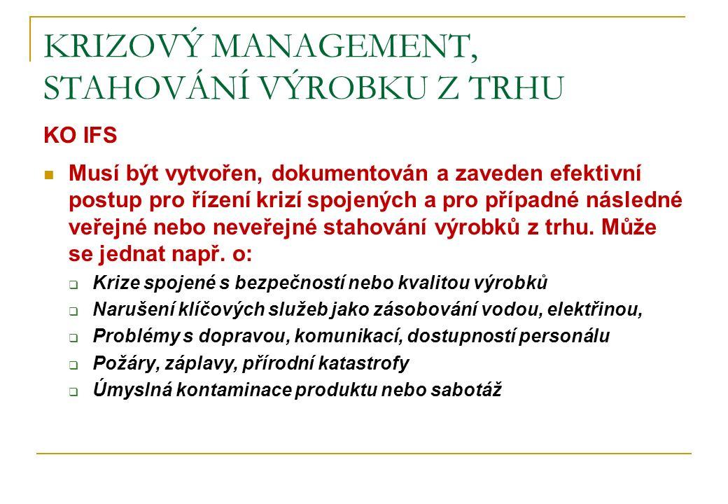 KRIZOVÝ MANAGEMENT, STAHOVÁNÍ VÝROBKU Z TRHU KO IFS Musí být vytvořen, dokumentován a zaveden efektivní postup pro řízení krizí spojených a pro případ