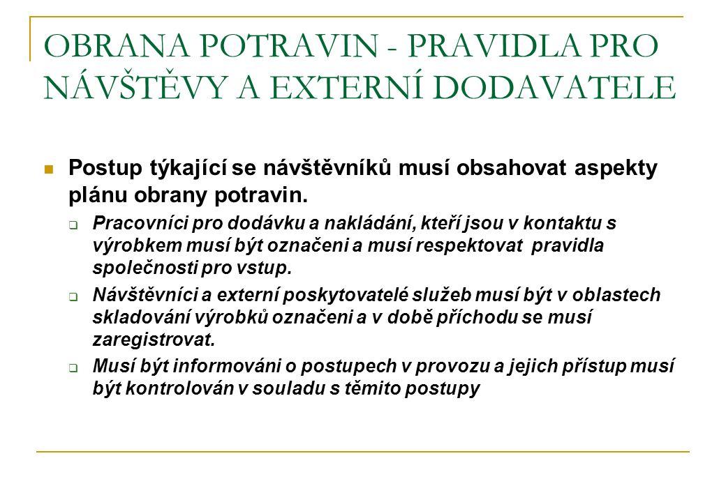 OBRANA POTRAVIN - PRAVIDLA PRO NÁVŠTĚVY A EXTERNÍ DODAVATELE Postup týkající se návštěvníků musí obsahovat aspekty plánu obrany potravin.  Pracovníci
