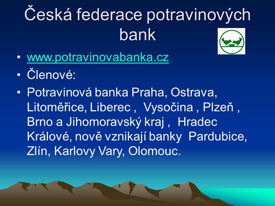 Česká federace potravinových bank www.potravinovabanka.cz Členové: Potravinová banka Praha, Ostrava, Litoměřice, Liberec, Vysočina, Plzeň, Brno a Jiho