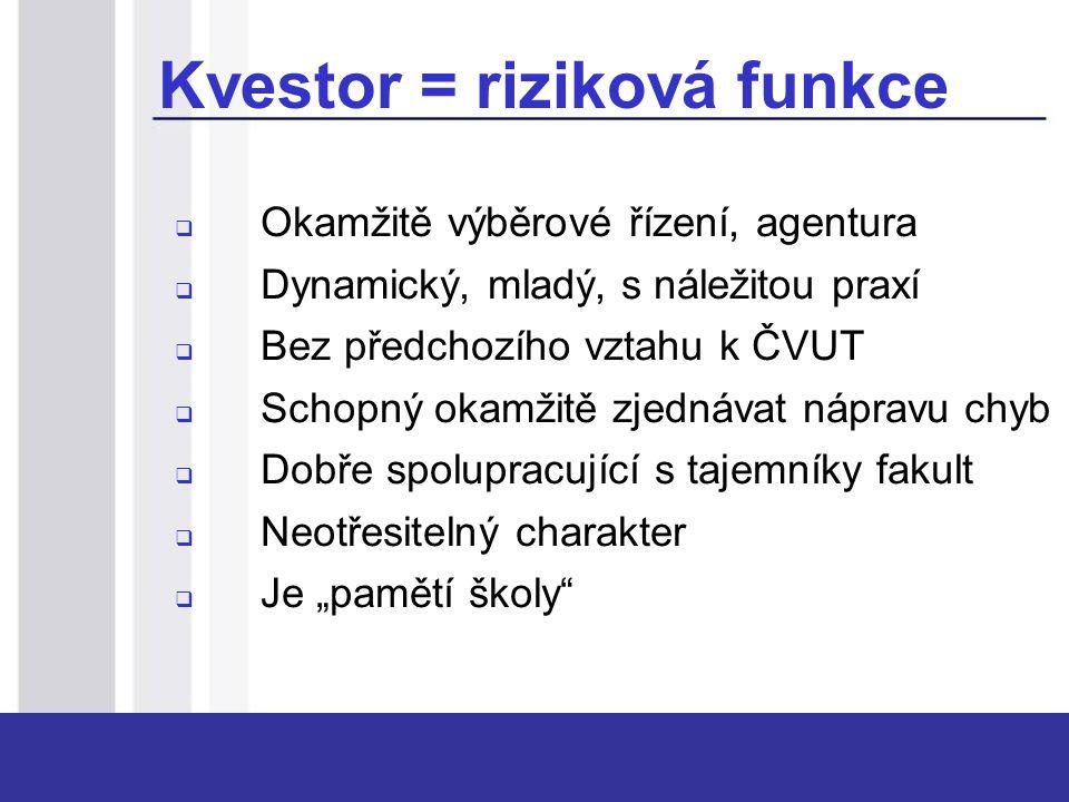 """Kvestor = riziková funkce  Okamžitě výběrové řízení, agentura  Dynamický, mladý, s náležitou praxí  Bez předchozího vztahu k ČVUT  Schopný okamžitě zjednávat nápravu chyb  Dobře spolupracující s tajemníky fakult  Neotřesitelný charakter  Je """"pamětí školy"""