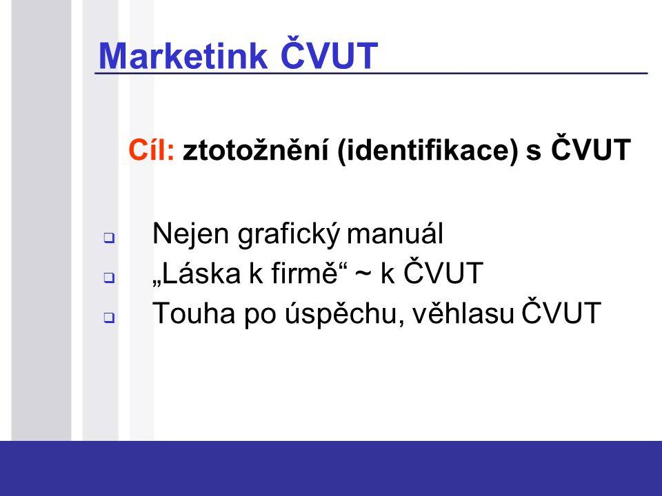 """Cíl: ztotožnění (identifikace) s ČVUT  Nejen grafický manuál  """"Láska k firmě"""" ~ k ČVUT  Touha po úspěchu, věhlasu ČVUT Marketink ČVUT"""