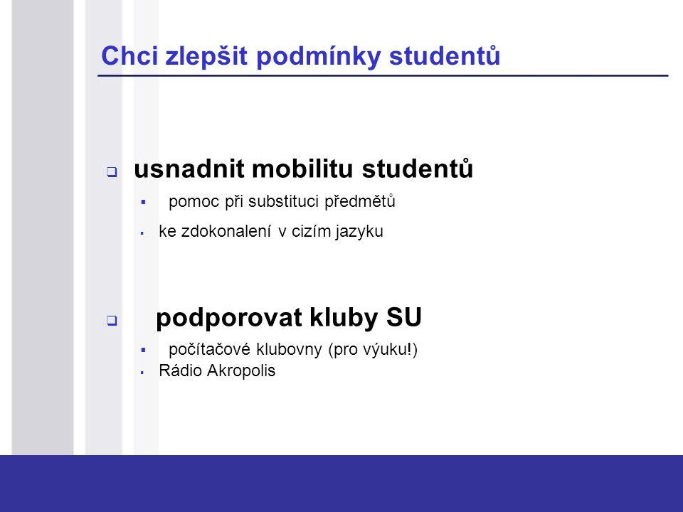 Chci zlepšit podmínky studentů  usnadnit mobilitu studentů  pomoc při substituci předmětů  ke zdokonalení v cizím jazyku  podporovat kluby SU  počítačové klubovny (pro výuku!)  Rádio Akropolis