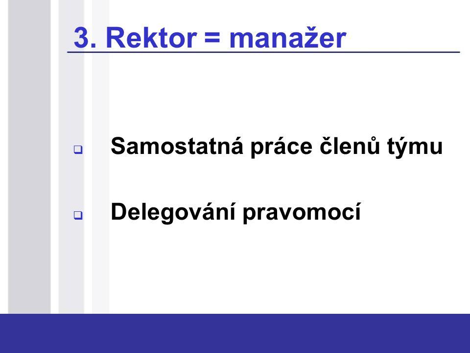 3. Rektor = manažer  Samostatná práce členů týmu  Delegování pravomocí