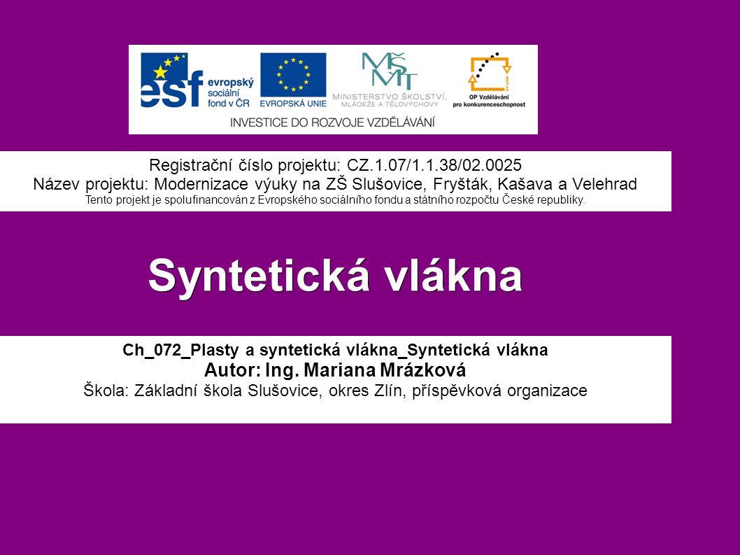 Syntetická vlákna Ch_072_Plasty a syntetická vlákna_Syntetická vlákna Autor: Ing.