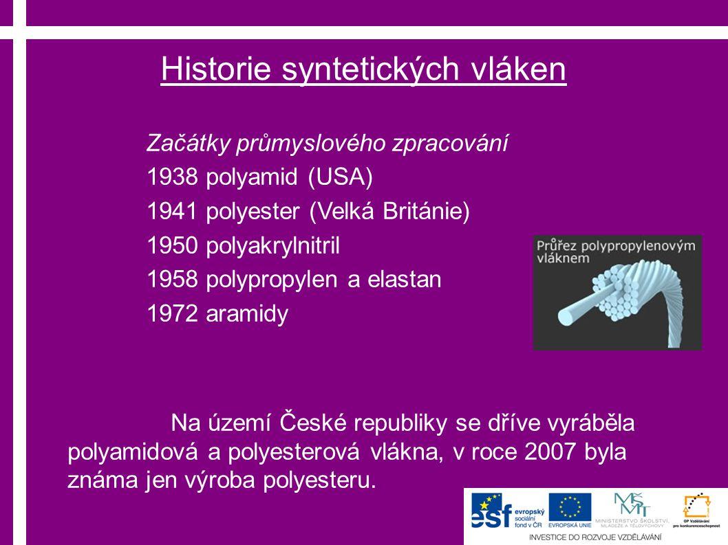 Historie syntetických vláken Začátky průmyslového zpracování 1938 polyamid (USA) 1941 polyester (Velká Británie) 1950 polyakrylnitril 1958 polypropylen a elastan 1972 aramidy Na území České republiky se dříve vyráběla polyamidová a polyesterová vlákna, v roce 2007 byla známa jen výroba polyesteru.