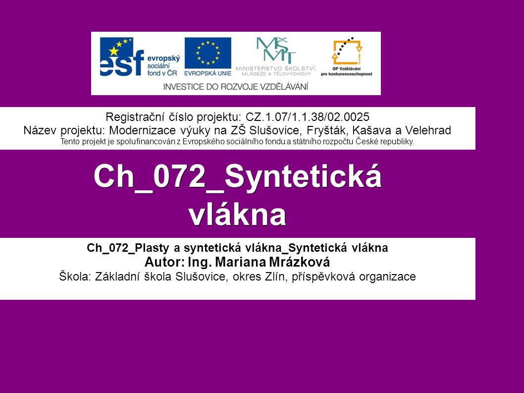 Ch_072_Syntetická vlákna Ch_072_Plasty a syntetická vlákna_Syntetická vlákna Autor: Ing.