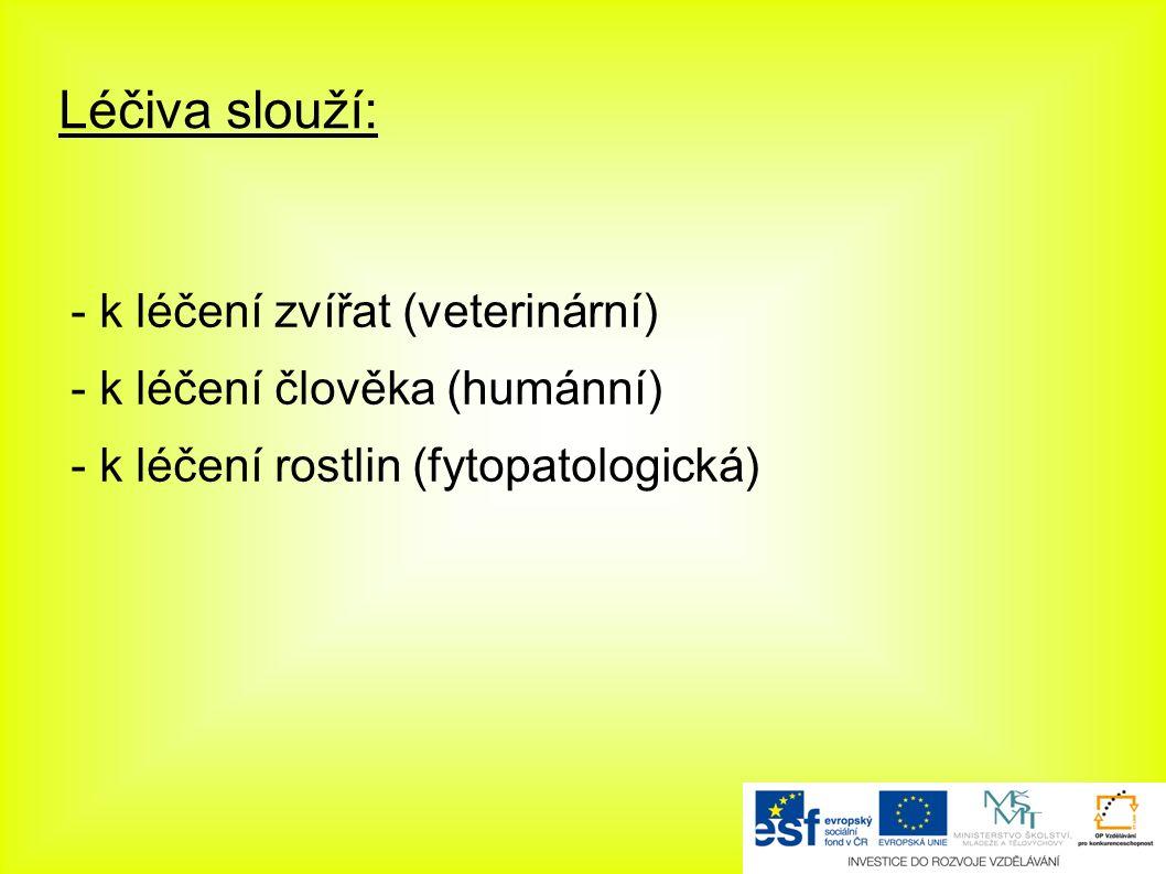Léčiva slouží: - k léčení zvířat (veterinární) - k léčení člověka (humánní) - k léčení rostlin (fytopatologická)